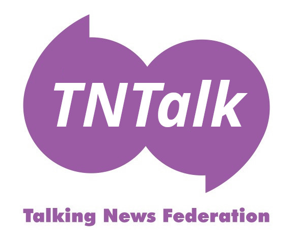 TNTalk written across stylised speech marks atop the words Talking News Federation